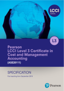 LCCI L3 Certificate in Cost and Management Accounting Specification