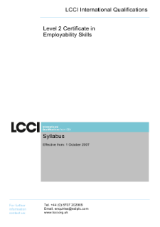 LCCI Level 2 Certificate in Employability Skills syllabus