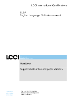 LCCI English Language Skills Assessment handbook