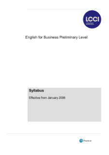 LCCI English for Business (preliminary level) syllabus