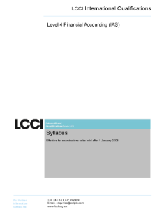 LCCI Level 4 Certificate in Financial Accounting (IAS) syllabus