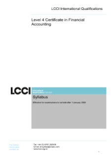 LCCI Level 4 Certificate in Financial Accounting syllabus