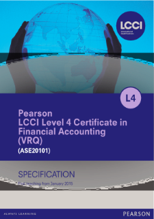 LCCI Level 4 Certificate in Financial Accounting specification