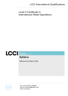 LCCI Level 2 Certificate in International Retail Operations syllabus