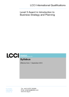 LCCI Level 3 Award in Introduction to Business Strategy and Planning syllabus