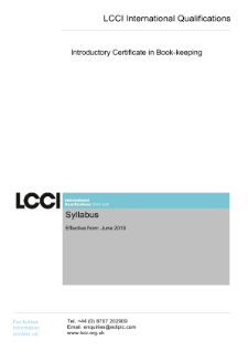 LCCI Introductory Certificate in Book-keeping syllabus