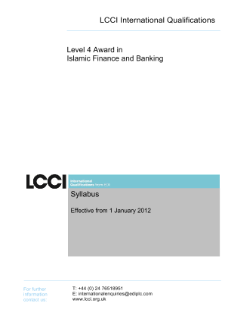 LCCI Level 4 the Award in Islamic Finance and Banking syllabus
