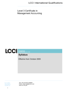 LCCI Level 3 Certificate in Management Accounting syllabus