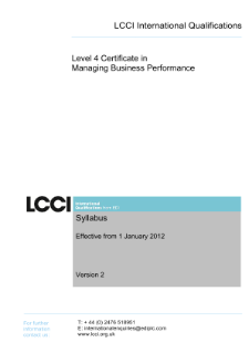 LCCI Level 4 Certificate in Managing Business Performance syllabus