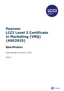 LCCI | Marketing | Pearson qualifications