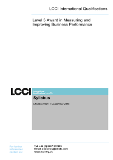 LCCI Level 3 Award in Measuring and Improving Business Performance syllabus