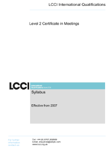 LCCI Level 2 Certificate in Meetings syllabus