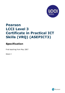 LCCI Level 3 Certificate in Practical ICT Skills syllabus