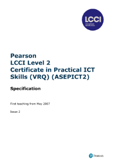 LCCI Level 2 Certificate in Practical ICT Skills syllabus