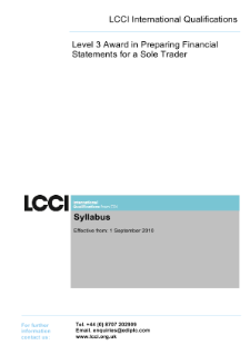 LCCI Level 3 Award in Preparing Financial Statements for a Sole Trader syllabus
