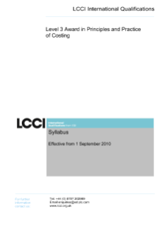 LCCI Level 3 Award in Principles and Practice of Costing syllabus