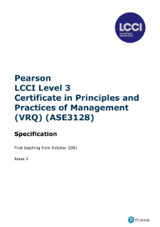 LCCI Level 3 Certificate in Principles and Practice of Management syllabus