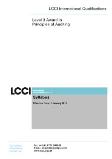 LCCI Level 3 Award in Principles of Auditing syllabus