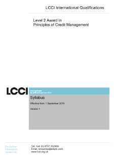 LCCI Level 2 Award in Principles of Credit Management syllabus