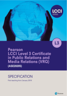 Pearson LCCI Level 3 Certificate in Media Relations and Public Relations (2019)