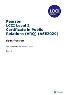 LCCI Level 2 Certificate in Public Relations syllabus