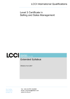 LCCI Level 3 Certificate in Selling and Sales Management syllabus