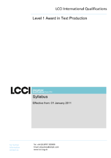 LCCI Level 1 Award in Text Production (2011) syllabus