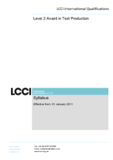 LCCI Level 2 Award in Text Production (2011) syllabus