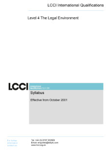 LCCI Level 4 Certificate in The Legal Environment syllabus