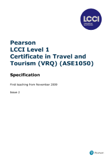 LCCI Level 1 Certificate in Travel and Tourism syllabus