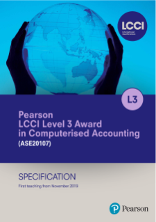 Pearson LCCI Level 3 Award in Computerised Accounting (VQR) specification