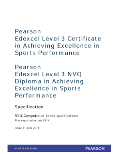 Edexcel Level 3 Achieving Excellence in Sports Performance specification