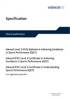 NVQ Diploma in Achieving Excellence in Sports Performance specification