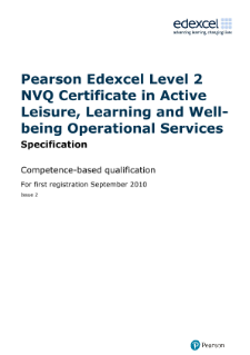 NVQ Certificate in Active Leisure, Learning and Well-being Operational Services specification