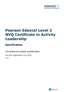 NVQ Certificate in Activity Leadership specification