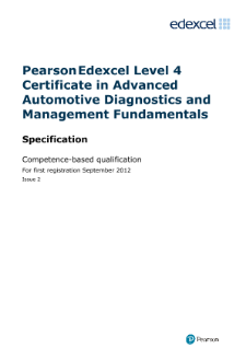 Competence-based qualification Advanced Automotive Diagnostics and Management Fundamentals specification