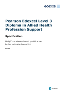 Competence-based qualification in Diploma in Allied Health Profession Support specification