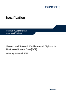 Competence-based qualification Award in Work-based Animal Care (L3) specification