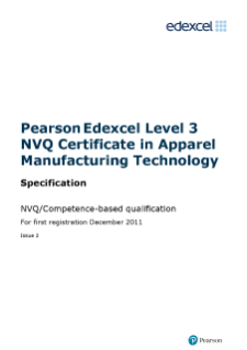 NVQ Certificate in Apparel Manufacturing Technology (L3) specification