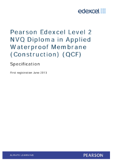 NVQ Diploma in Applied Waterproof Membranes (Construction) (L2) specification