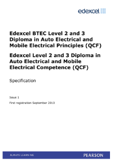 BTEC Level 3 Diploma in Auto Electrical and Mobile Electrical Principles specification