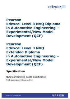Competence-based qualification in Automotive Engineering - Experimental/New Model Development (L3) specification