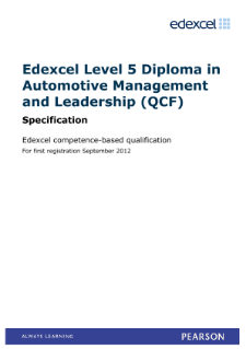 Competence-based qualification in Automotive Management and Leadership (L5) specification