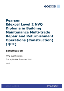 Pearson Edexcel Level 2 NVQ Diploma in Building Maintenance Multi-trade Repair and Refurbishment Operations (Construction) (QCF)