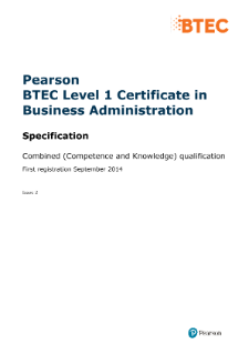 Pearson BTEC Level 1 Certificate in Business Administration (QCF)