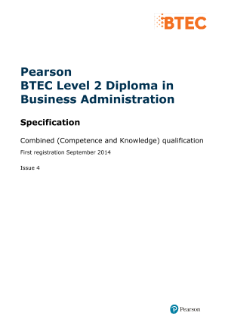 Pearson BTEC Level 2 Diploma in Business Administration specification