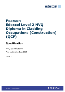 Pearson Edexcel Level 2 NVQ Diploma in Cladding Occupations (Construction) (QCF) specification
