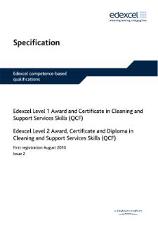 nvq and competence based qualifications  qcf    cleaning and    specification