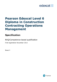 Edexcel Level 6 NVQ Diploma in Construction Contracting Operations Management (QCF) specification