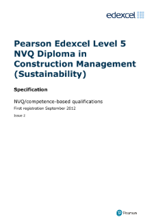 Specification - Issue 2,Edexcel NVQ/competence-based qualifications
